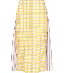 rosie assoulin party in the back panelled midi skirt - yellow