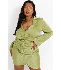 plus satijnen blouse jurk met ruches, green