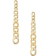 ettika long and gradual gold plated chain earrings