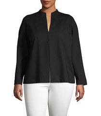 plus long-sleeve split neck blouse