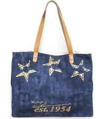 vintage havana denim and star tote bag