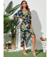 vestido midi de manga corta con diseño de cinturón tropical y cuello en v de yoins