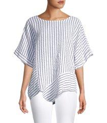 saks fifth avenue women's striped scoopneck linen blouse - blue white stripe - size xs