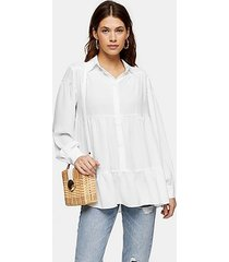 ivory tiered crepe shirt - ivory