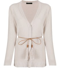 fabiana filippi sequin-embellished belted cardigan - neutrals