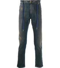 diesel belted slim high-rise jeans - blue