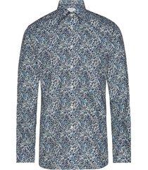 floral print poplin shirt overhemd business blauw eton