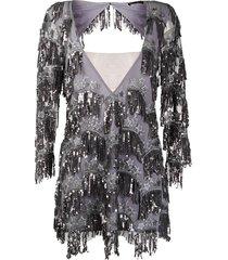 for love and lemons sequin fringe mini dress - grey