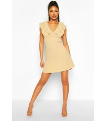 frill neck skater dress, stone