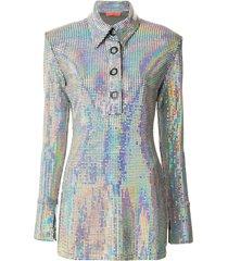 manning cartell metallic polo shirt dress - silver