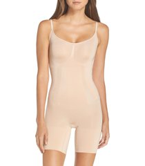 women's spanx oncore mid thigh bodysuit, size large - beige