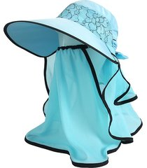 sombrero para mujer, verano femenino visera uv encaje-azul