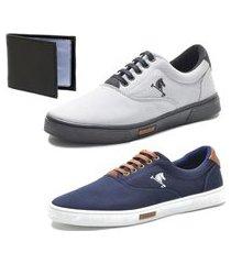 kit 2 pares sapatenis conforto polo joy e carteira azul/cinza escuro