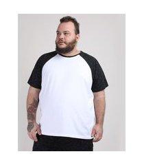 camiseta masculina plus size básica raglan manga curta gola careca branca
