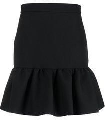 msgm peplum-hem mini skirt - black