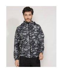 jaqueta corta vento masculina de nylon esportiva ace camuflada com capuz e bolsos de zíper chumbo