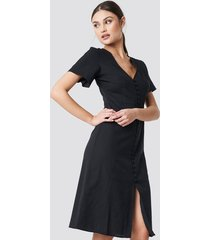 na-kd boho button front linen-blend dress - black