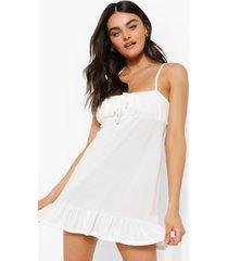 geribbelde strand jurk met geplooide zoom en bandjes, white