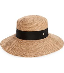 helen kaminski newport raffia straw hat, size medium in nougat/midnight at nordstrom
