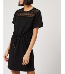 see by chloé women's lace and fleece dress - black - l