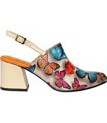 suecos para mujer cuero mariposas amme zapatos