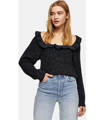 charcoal gray tie back ruffle cable knitted sweater - charcoal