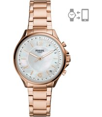 fossil women's sadie rose gold-tone stainless steel bracelet hybrid smart watch 36mm