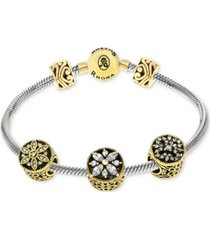 rhona sutton cubic zirconia stone charm bracelet gift set in sterling silver