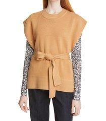 women's baum und pferdgarten cressa belted cap sleeve sweater, size large - beige