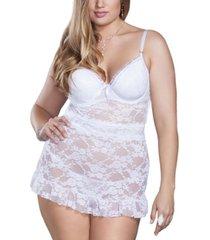 icollection plus size elegant stretch lace chemise 2pc lingerie set