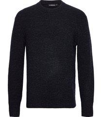 isaac crew neck sweater gebreide trui met ronde kraag blauw j. lindeberg