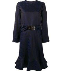 giorgio armani belted peplum dress - blue