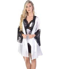 robe curto yasmin lingerie perola branco com preto