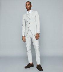 reiss splash - seersucker tailored blazer in blue, mens, size 46