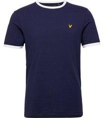 ringer t-shirt t-shirts short-sleeved blå lyle & scott