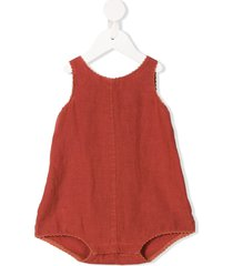 caramel charing cross buttoned romper - red