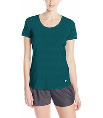 camiseta manga corta mujer under armour w tb streaker ss-verde