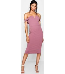 bardot midi bodycon dress, mauve
