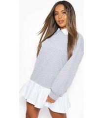petite sweatshirt jurk met blouse detail