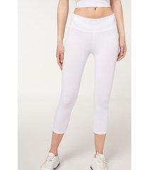calzedonia supima cotton capri leggings woman white size s