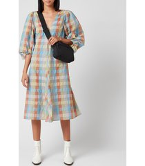 ganni women's seersucker check mini dress - multicolour - eu 40/uk 12