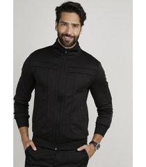 jaqueta masculina slim com recortes e bolsos gola alta preta