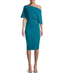 alexia admor women's asymmetric draped-sleeve sheath dress - black - size xs