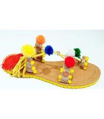 sandália rasteira christian fischer gladiadora com pom pom conforto feminina