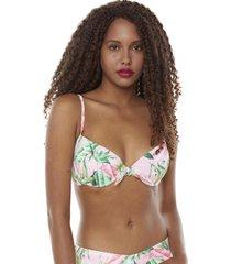 top nudo tropical rosa mujer corona