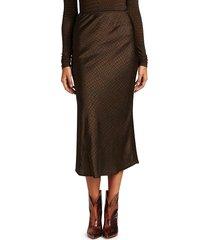 andamane women's bella printed satin midi slip skirt - brown - size s