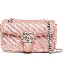 gucci gg marmont sequin-embellished shoulder bag - pink