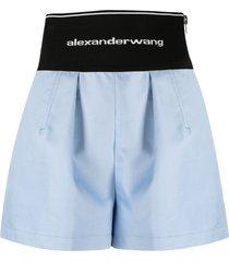 alexander wang high-rise logo-print two-tone shorts - blue