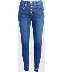 loft high waist skinny crop jeans in staple dark indigo wash