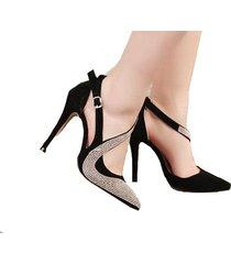 mujer zapatos de tacon sandalias fashion-cool-negro